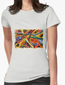 Abstract Art Acrylic Painting Original Canvas Art Titled: Wild Colors Womens Fitted T-Shirt