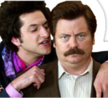 ron swanson and jean ralphio Sticker