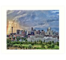 Rainbow Over Denver Art Print