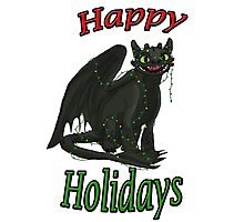 Toothless - Happy Holidays Photographic Print