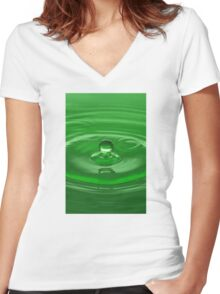 Green Water Drop Women's Fitted V-Neck T-Shirt