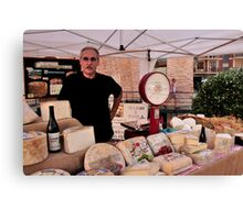Cheese Stand Market Day in Alba, Piedmont Canvas Print