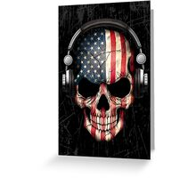 Dj Skull with American Flag Greeting Card