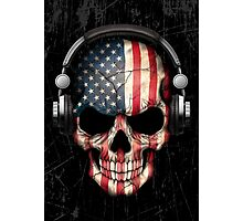 Dj Skull with American Flag Photographic Print