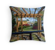 Cafe and flowers Throw Pillow