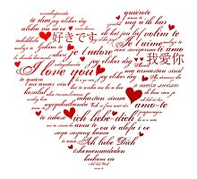 Words of Love Designer Art Red by innocentorigina
