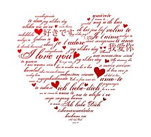 Words of Love Designer Art Red Photographic Print