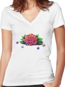 Remember the Roses and Marbles Women's Fitted V-Neck T-Shirt
