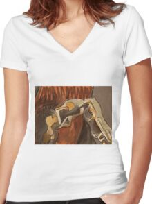 anthro Women's Fitted V-Neck T-Shirt