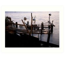 Dock on the river Art Print