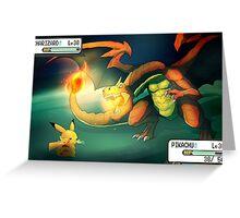 Pokemon Battle: Pikachu vs Charizard Greeting Card