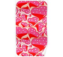 PINK AND RED DOTTED HEARTS Poster