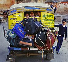 School Childs in Tuk Tuk - India by chrisfx