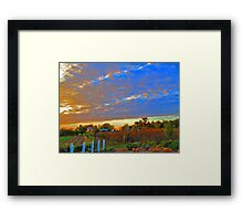 Sunset On The Country Farm During Autumn Harvest Framed Print