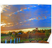 Sunset On The Country Farm During Autumn Harvest Poster