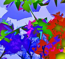 Colorful Bold Abstract Digital Art Design Red Blue Yellow Primary Colors by Adri Turner