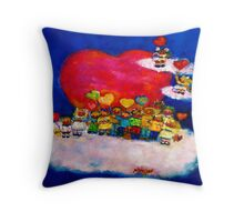 Kids Hearts Designer Art Throw Pillow