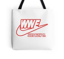 WWE Just Blew It. (Red Outline, White Inside) Tote Bag