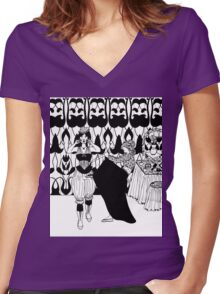 lady with corset Women's Fitted V-Neck T-Shirt