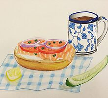 Bagel and Lox Watercolor Drawing by Lagoldberg28