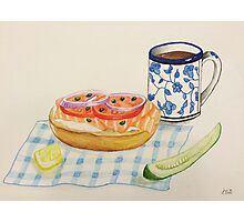 Bagel and Lox Watercolor Drawing Photographic Print