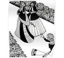 lady throwing a brush Poster