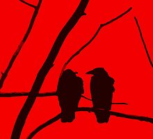 Love Birds Maybe Red and Black Design by Adri Turner