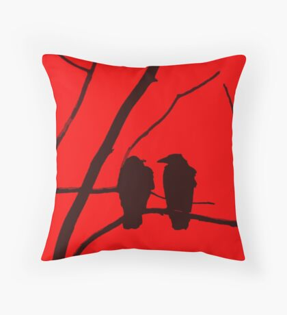 Love Birds Maybe Red and Black Design Throw Pillow