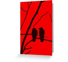 Love Birds Maybe Red and Black Design Greeting Card