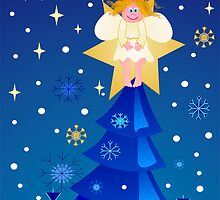 Cute little angel on a treetop star by CanDuCreations