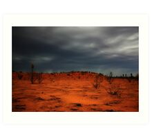 Red dirt.  Black Clouds. Art Print