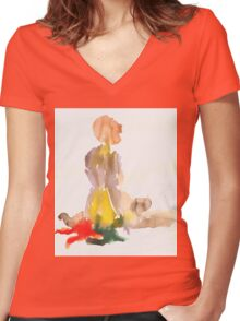 nude2 Women's Fitted V-Neck T-Shirt