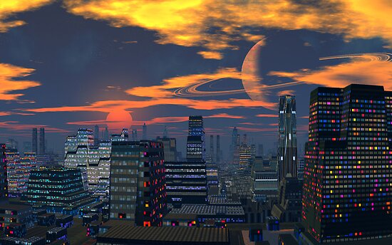 Titan City Sunset by AlienVisitor