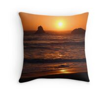 Sunset at Lone Ranch Beach, Oregon Throw Pillow
