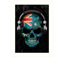 Dj Skull with Australian Flag Art Print