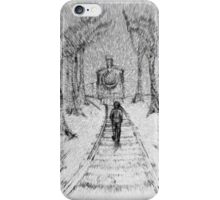 Wooden Railway , Pencil illustration railroad train tracks in woods, Black & White drawing Landscape Nature Surreal Scene iPhone Case/Skin
