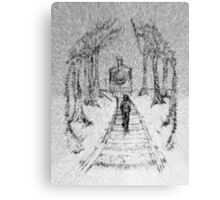 Wooden Railway , Pencil illustration railroad train tracks in woods, Black & White drawing Landscape Nature Surreal Scene Canvas Print