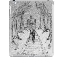 Wooden Railway , Pencil illustration railroad train tracks in woods, Black & White drawing Landscape Nature Surreal Scene iPad Case/Skin