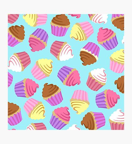 Cupcake Crazy in Blue Photographic Print