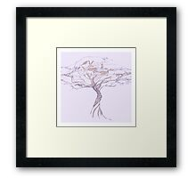 Quiet Acacia Zen Tree , Earthy African Bonsai Peace Lavendar Purple Framed Print
