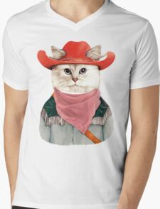Rodeo Cat Mens V-Neck T-Shirt