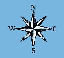 Compass Rose NESW Vintage two colors by theshirtshops