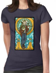 St. Christopher of the Velociraptors Womens Fitted T-Shirt