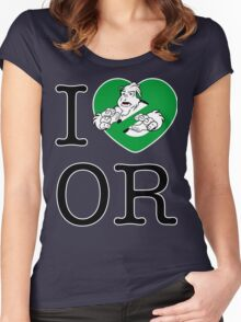 I PNW:GB OR (white) Green Heart v2 Women's Fitted Scoop T-Shirt