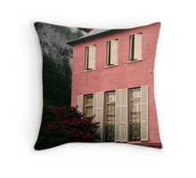 Pink House on Rainbow Row Throw Pillow