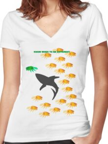 Know When To Be Different Women's Fitted V-Neck T-Shirt
