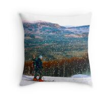 Skiing Mt. Sugarloaf Throw Pillow
