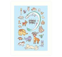Animals of Studio Ghibli V2 Art Print