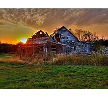 The Sun Has Set on This Old Barn Photographic Print