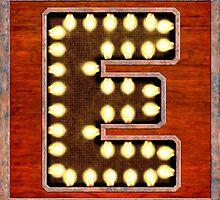 Vintage Lighted Sign - Monogram Letter E by Mark Tisdale
